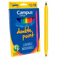 Rotulador Campus College Double Point tinta lavable 12 unid. colores surtidos ref. 080923