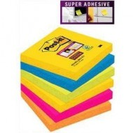 Pack de 6 blocs de notas reposicionables Post-it Super Sticky 76x76 mm ref. 654 -6SS