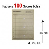 Sobre bolsa Folio prolongado 260 x 360 mm. correo interno kraft ref. 148956