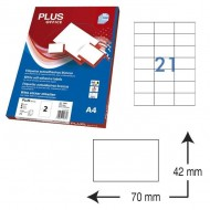Etiquetas autoadhesivas Plus Office 70 x 42 mm. (2100 etiq./caja) ref.10684/7042