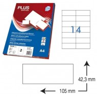 Etiquetas autoadhesivas Plus Office 105 x 42,3 mm. (1400 etiq./caja) ref.10680/10542