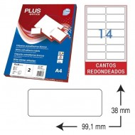 Etiquetas autoadhesivas Plus Office 99,1 x 38 mm. (1400 etiq./caja) ref.10690/9938