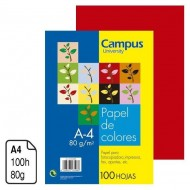 Papel Campus University rojo intenso A4 80 g. 100 h. ref. 01161