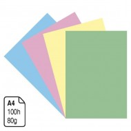 Papel colores suaves A4 80 g. 100 h.