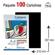 Cartulina Campus University A4 180 g. negra