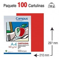Cartulina Campus University A4 180 g. tomate