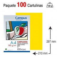 Cartulina Campus University A4 180 g. amarillo canario