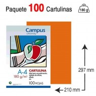 Cartulina Campus University A4 180 g. naranja