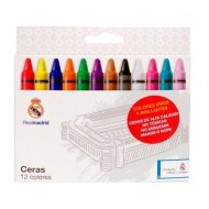 Lápices de cera Real Madrid 12 colores surtidos ref. CE-10-RM